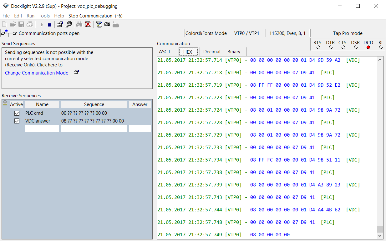 Docklight Screenshot - RS485 Monitoring