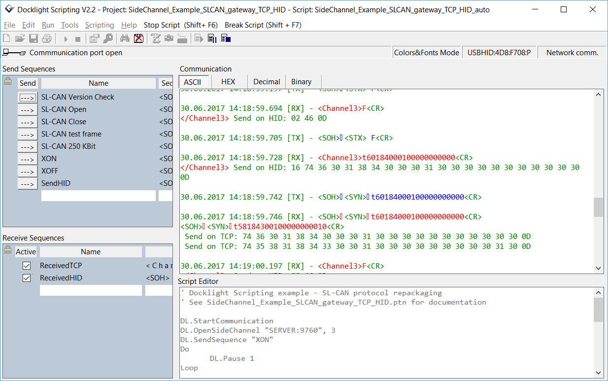 Docklight Scripting Screenshot - USB HID device testing